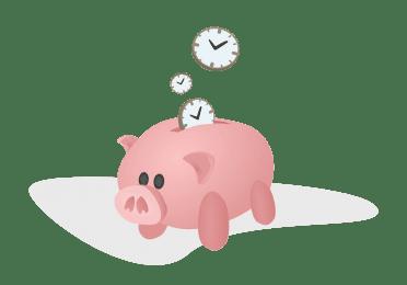 Tirelire cochon avec horloges en forme de pièces