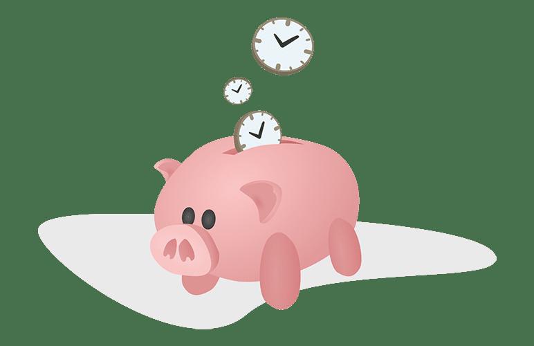 Tirelire cochon avec des horloges en forme de pièces