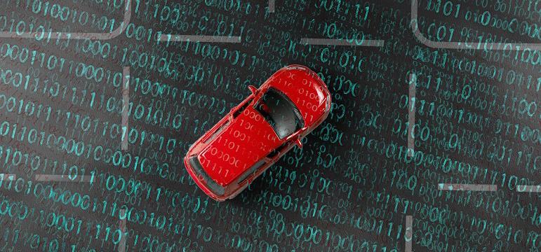 Voiture garée sur un sol recouvert de données